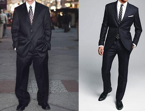 traje grande vs ajustado