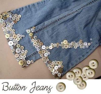 Reciclar los botones - Decorar pantalones vaqueros ...