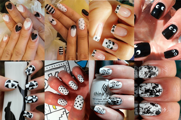 black white nails Tendencias manicura verano 2012