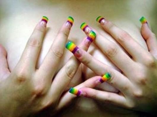 uñas multicolor