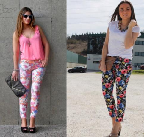 Como combinar los pantalones floreados