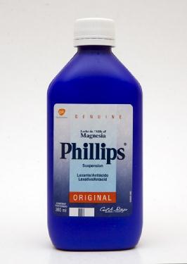 Bote azul de leche de magnesia