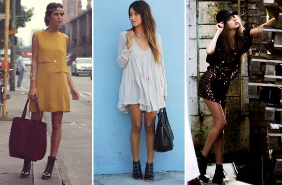 Vestido y botines, looks para el otoño