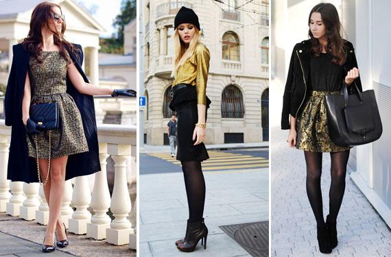 Looks negro y dorado