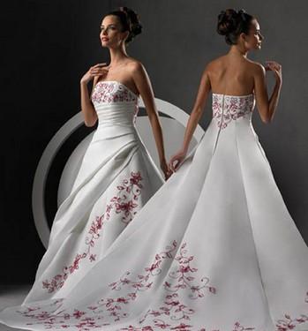 vestido rojo y blanco