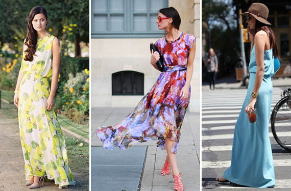 Looks con vestidos largos estampados