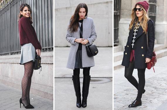 Falda y medias negras