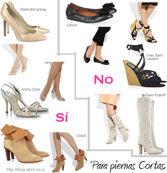 Zapatos para piernas cortas