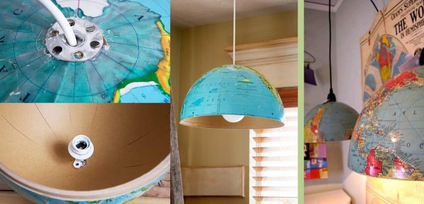 Lampara DIY con globo terraqueo