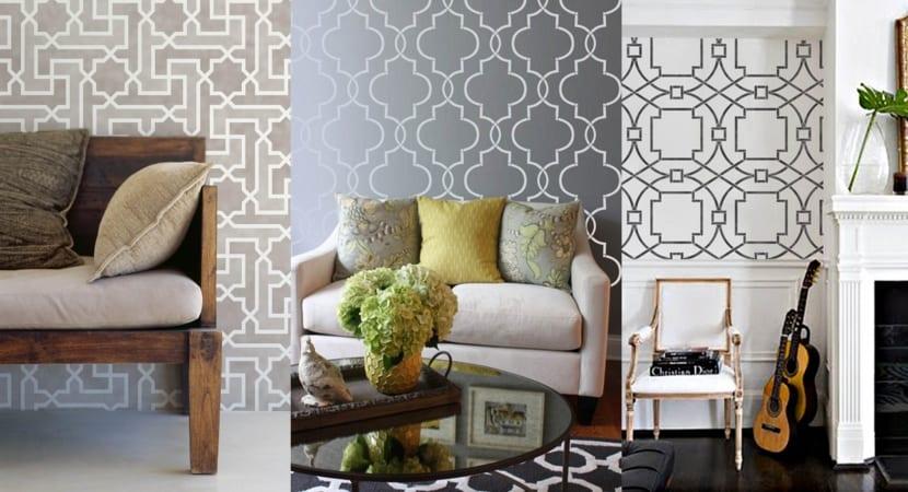 Estarcidos de pared en gris y plata