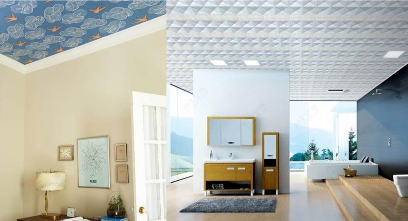 Papel pintado y murales decorativos para techo for Pintar techo cocina