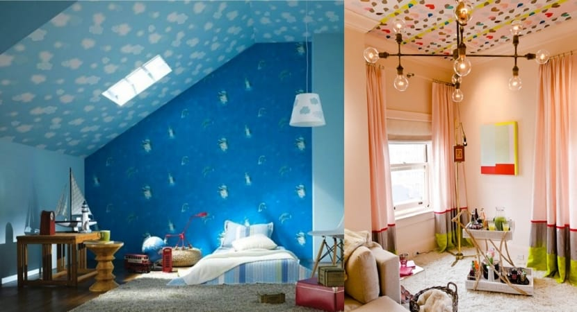 Techo empapelado habitaciones infantiles