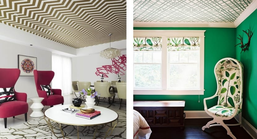 Papel pintado y murales decorativos para techo for Decoracion pintura habitaciones