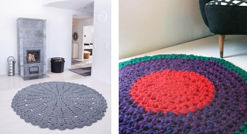 Alfombras realizadas en crochet