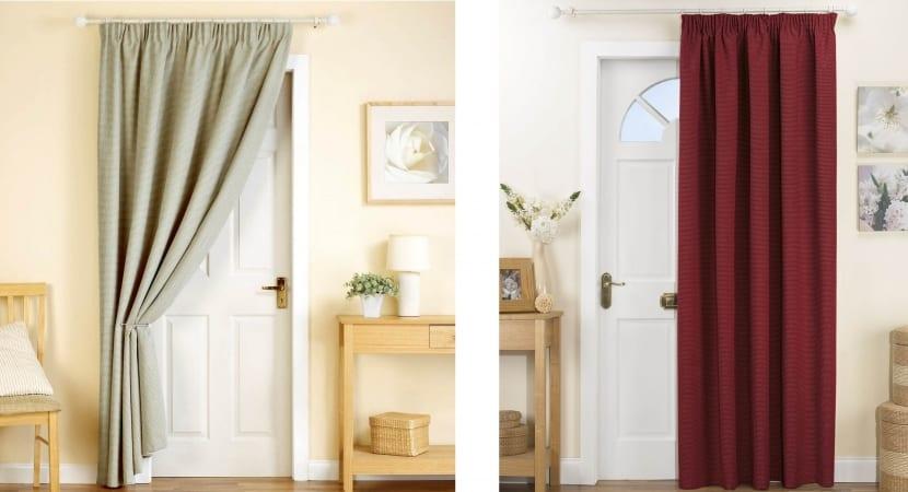 Puertas decoradas con cortinas