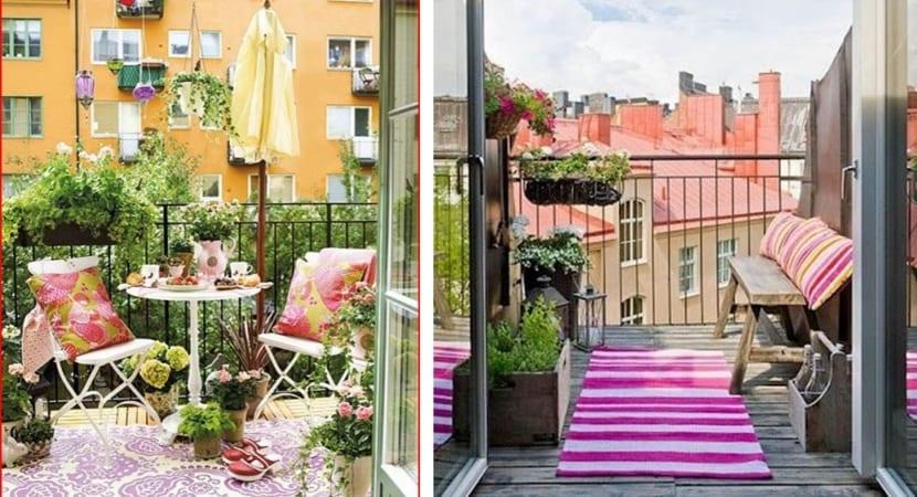 Balcones con alfombras y cojines