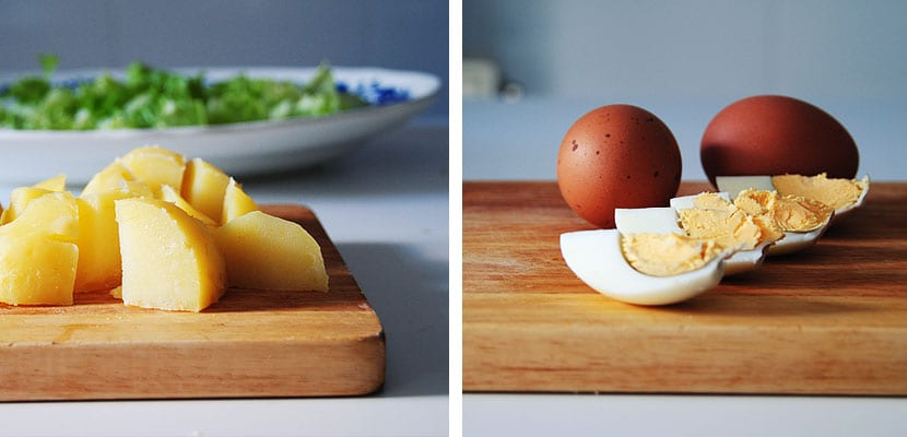 Patatas y huevos cocidos