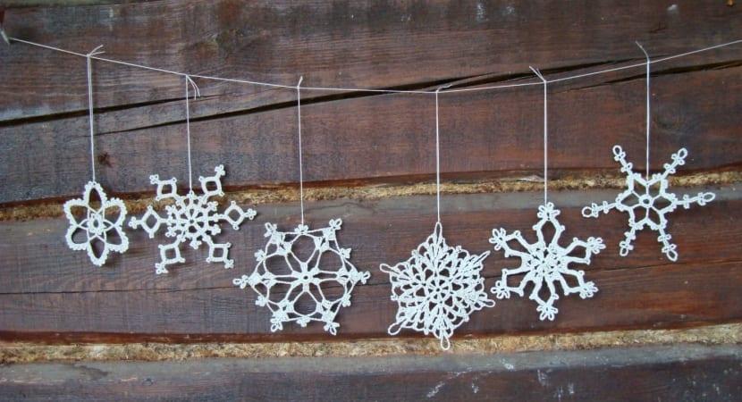 Copos de nieve en crochet
