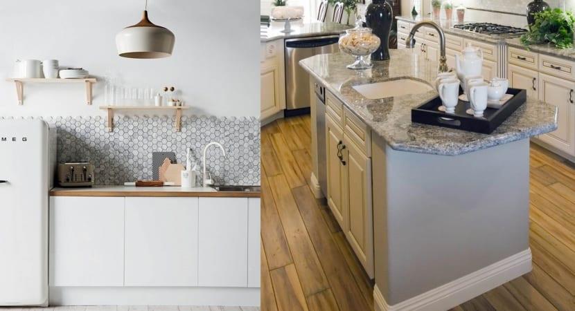 Detalles hexagonales en la cocina