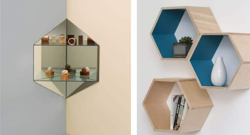 Estantes de pared hexagonales