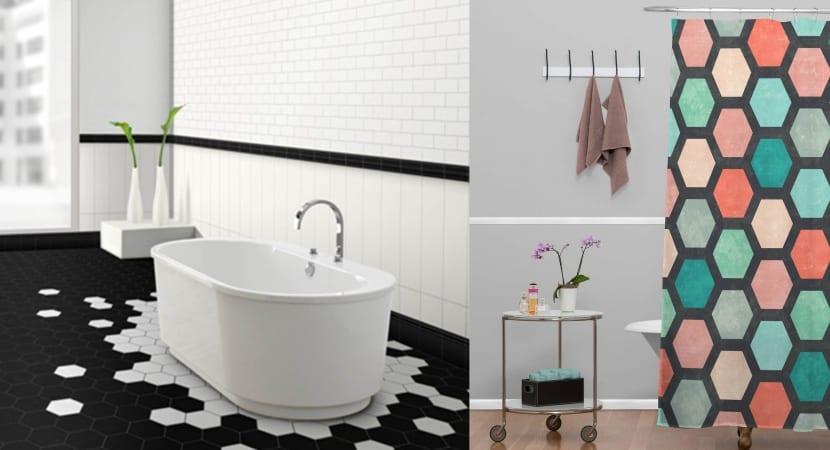 Hexagonos en el baño