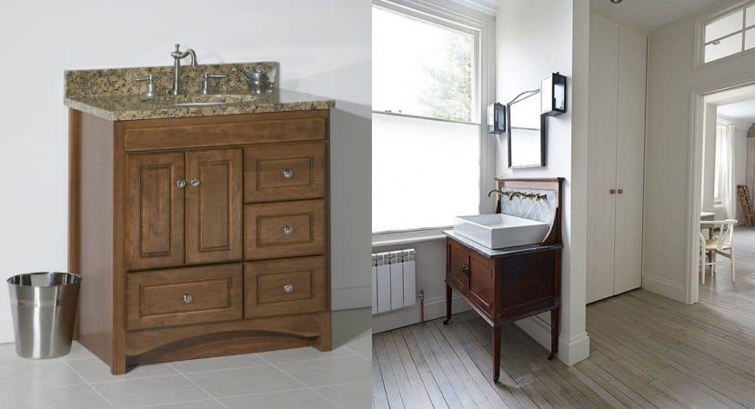 Lavabos sobre muebles antiguos