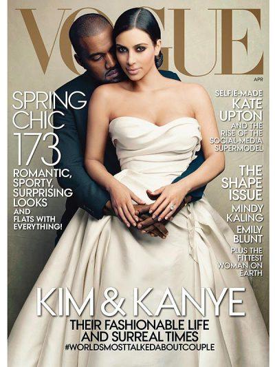 Kim Kardashian y Kanye West en la portada de Vogue