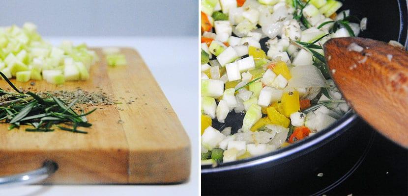 Pimientos al horno rellenos de ternera y calabacin