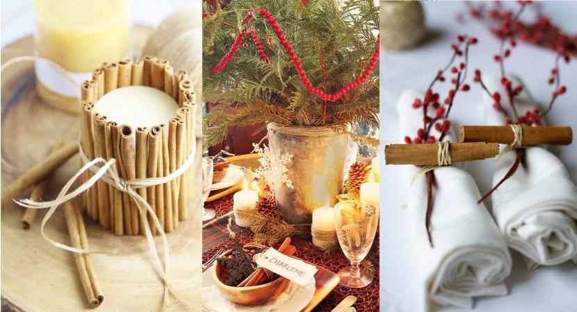 Canela en rama para decorar la mesa de Navidad