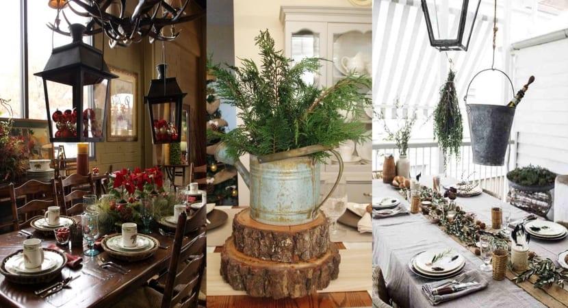 Decoracion mesa navideña rustica