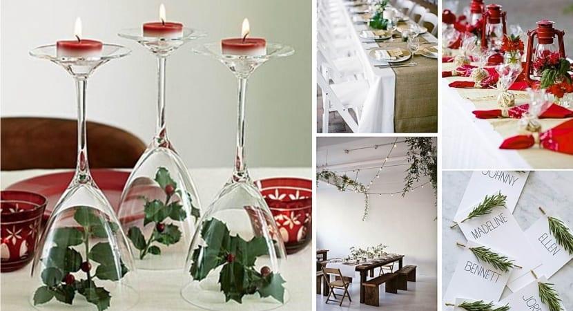 Mesa de Navidad decorada con hojas o plantas