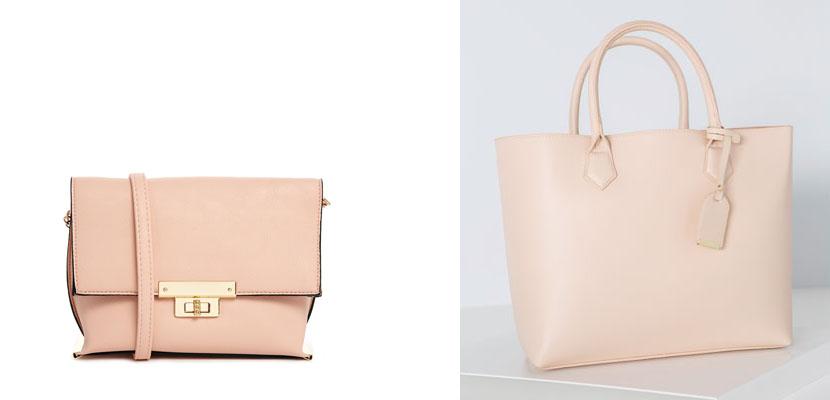 Bolsos rosa pastel o maquillaje