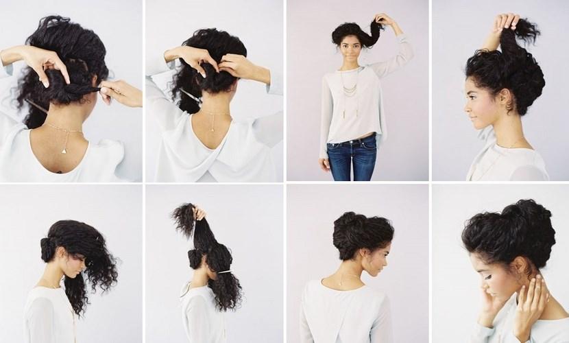 peinado sencillo para cabellos rizados - Recogido Rizado