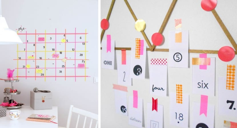 Calendarios DIY con Washi Tape