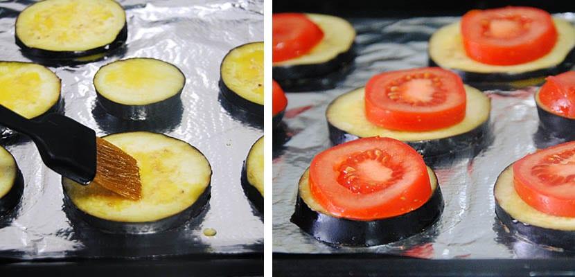 Montaditos de berenjena, tomate y queso