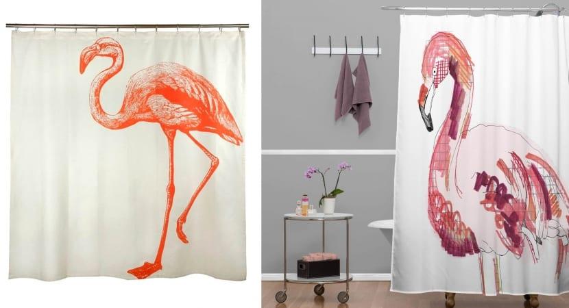 Flamencos sobre cortinas de aseo