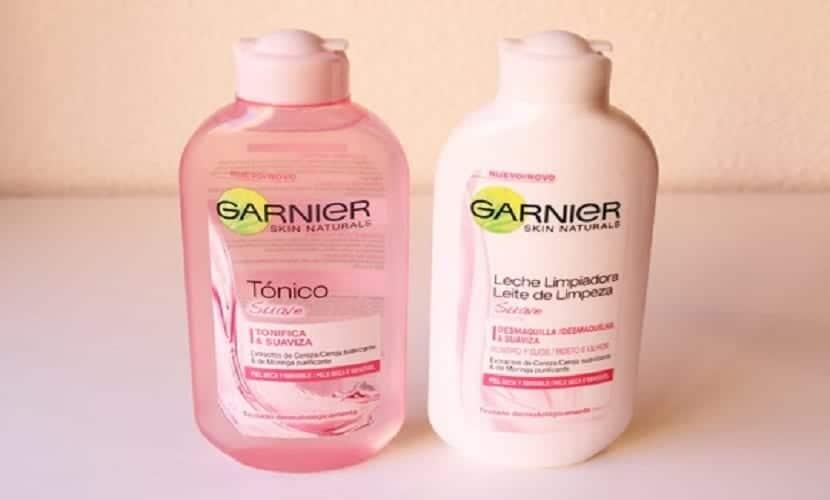 Tónico y leche limpiadora Garnier