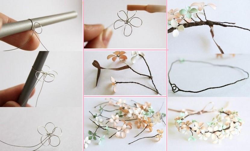 Diadema con flores de alambre