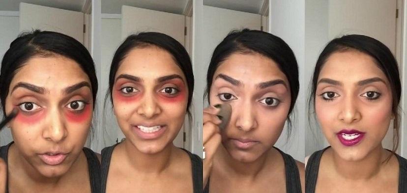 Labial rojo para las ojeras