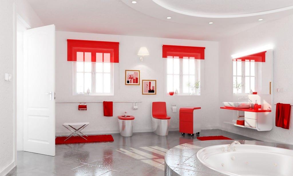 cuarto de bano rojo blanco