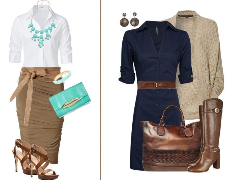 Outfit con falda y vestido