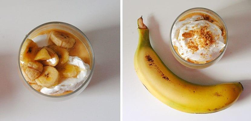 Vasitos de plátano y crema de vainilla