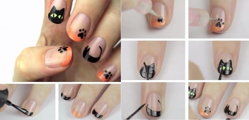 Manicura de gato para Halloween