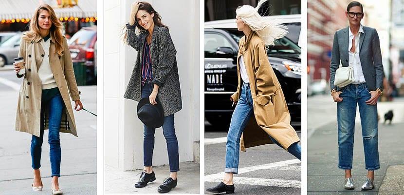 Cropped jeans con zapato plano