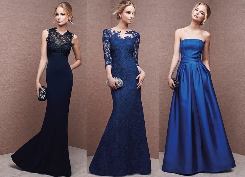 Vestidos elegantes en azul