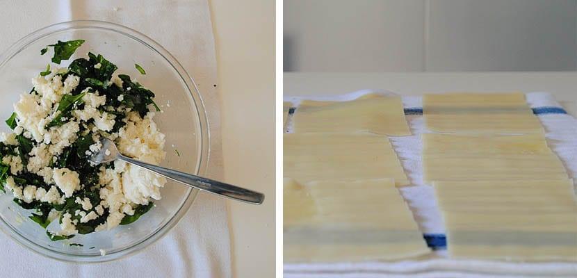 Lasaña de espinacas y requesón
