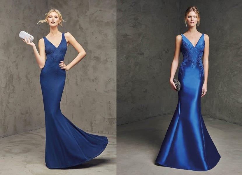 Vestidos largos en azul real