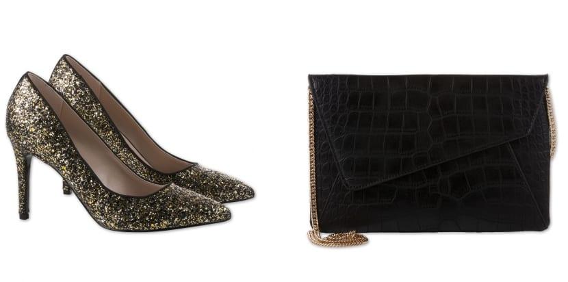 Zapatos dorados y bolso con cadena