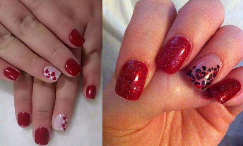Manicura en rojo con uñas combinadas