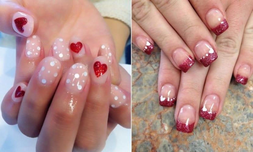 Corazones en los diseños de uñas